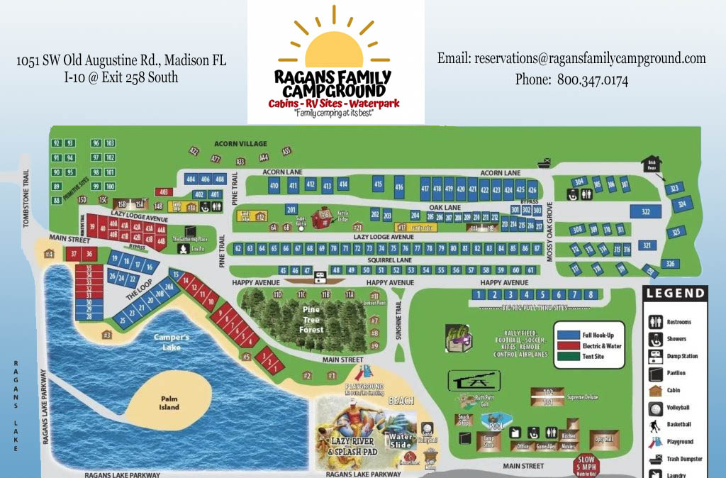 sitemap for Ragans Family Campground in Madison FL